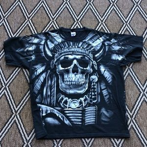 1997 Liquid blue Skull Indian graphic tee